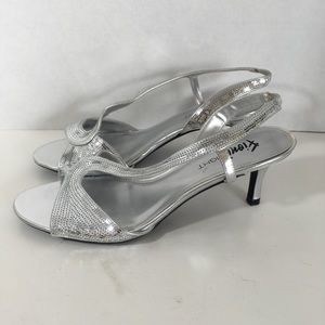 Fioni Night Silver Sequin Slingback Heels Size 8